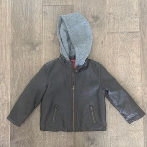 Boys brown leather hooded jacket